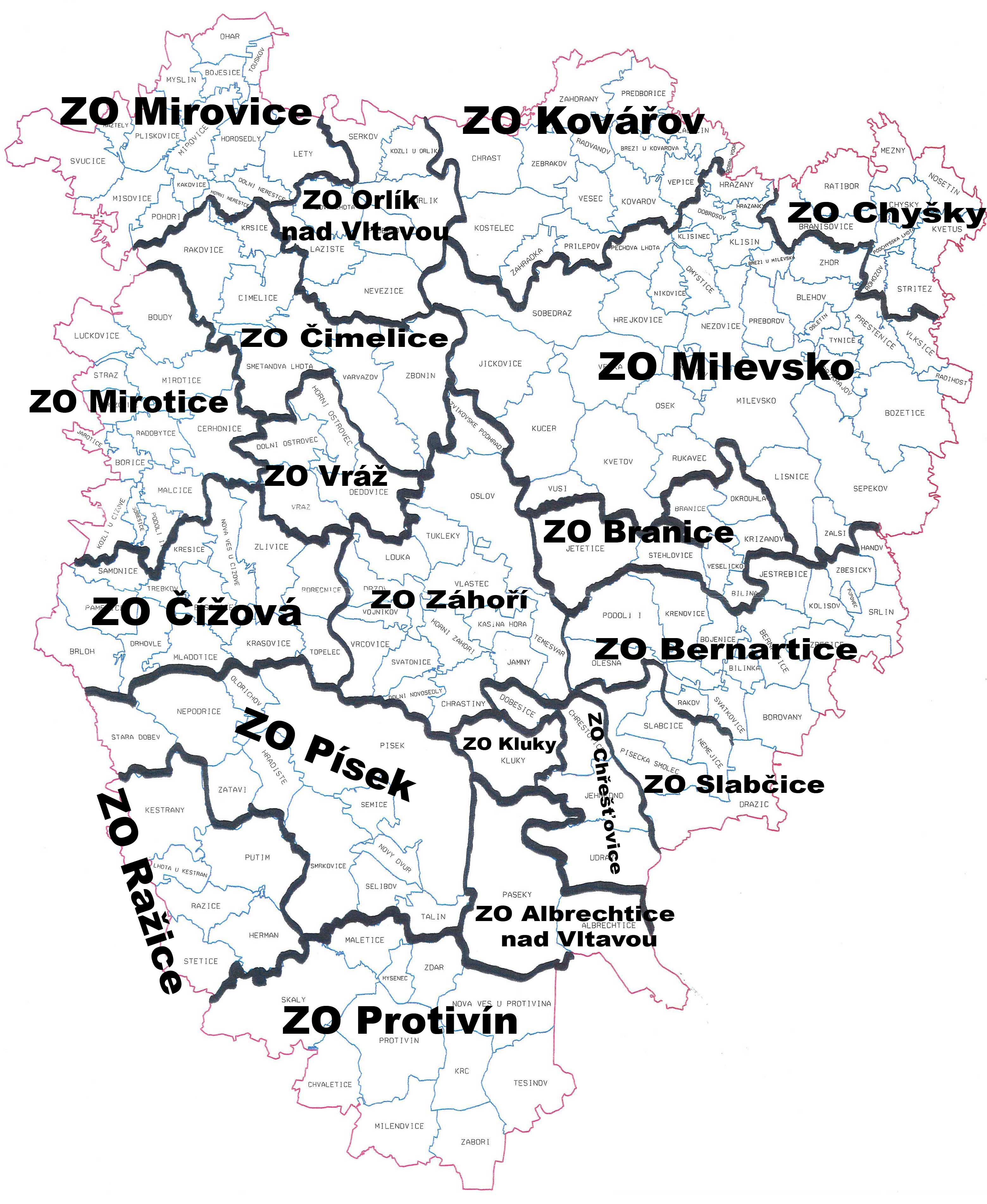 Mapa včelařství na Píseckém okrese